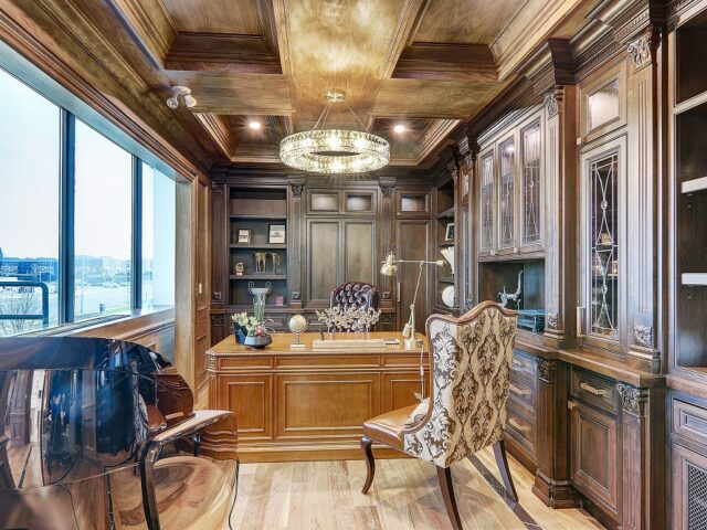 classic home office with waffle ceiling and wooden desk - Home Renovation Toronto