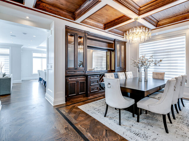 amazing dining room with coffered wall decor - Custom Home Contractor toronto