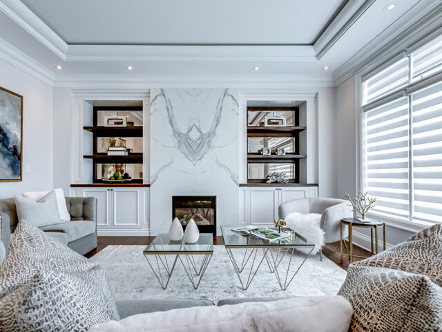 custom family room with crown moulding- Toronto Custom Home Builder