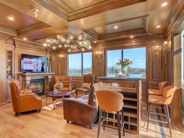 classic custom office with waffle ceiling - Complete Home Renovation