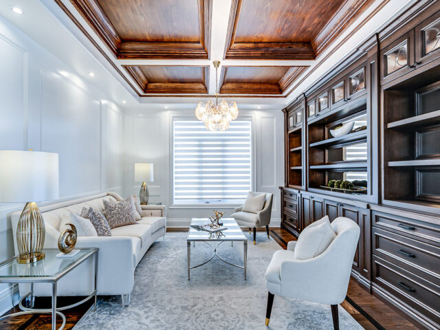 classic living room with waffle ceiling - Custom Home Experts toronto