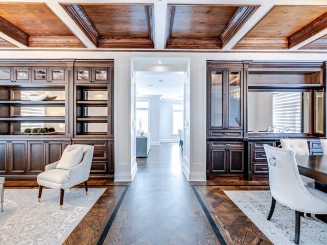 modern hallway with build in cabinets - custom home contractor