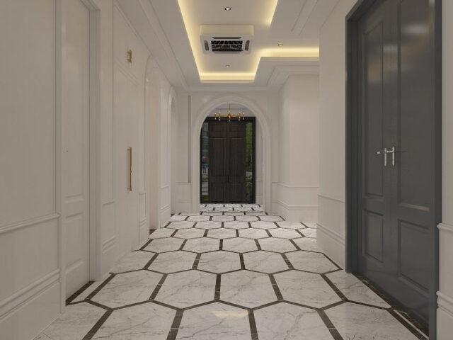 amazing hallway with wainscoting wall decor and custom interior doors - custom home builders toronto