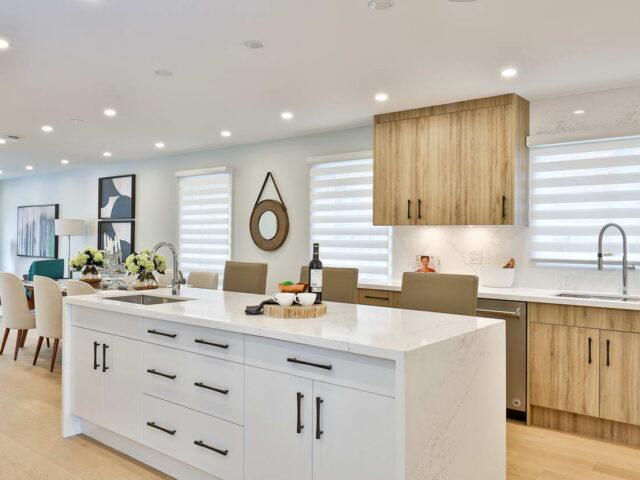 modern kitchen island in custom kitchen