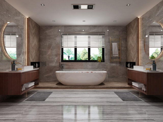 amazing custom bathroom with two vanity and freestanding bathtub - custom home contractors