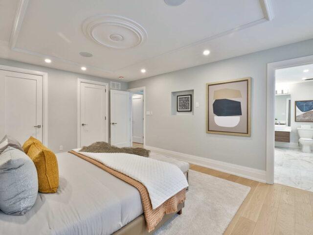 luxury bedroom and master bathroom - custom home builders torino construction