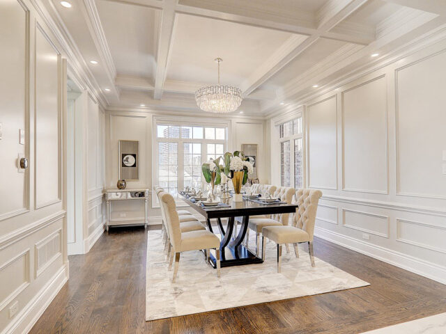 classic dining room with waffle ceiling and coffered wall decor - custom home experts