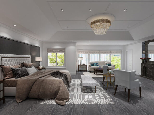 luxury bedroom with build in fireplace and 3D wall decor - custom home builders Toronto