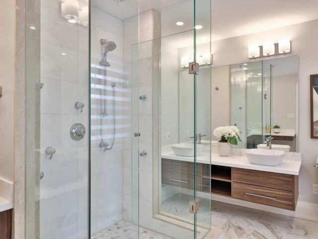 amazing walk in shower in custom bathroom - custom home experts