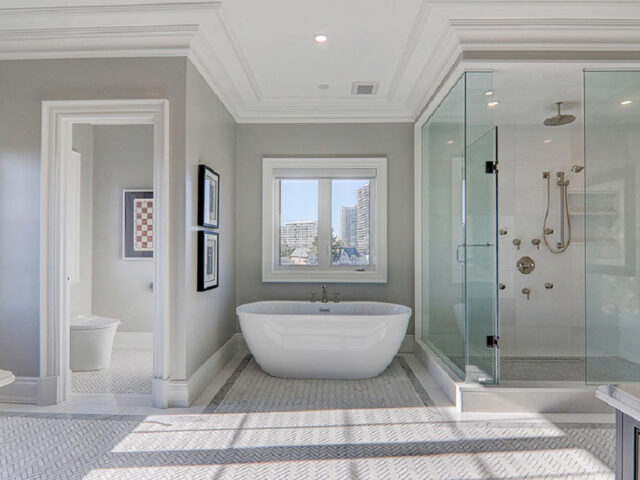 amazing large bathroom with freestanding bathtub and walk in shower