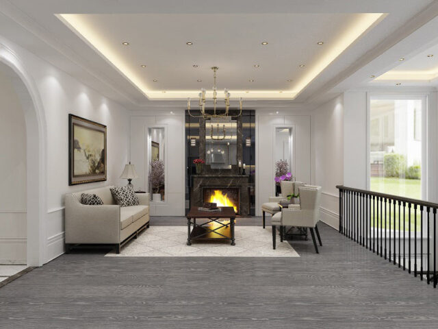 amazing family room with build in fireplace and backlit ceiling - custom home contractors