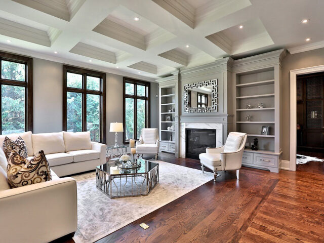 classic family room with waffle ceiling - custom homes