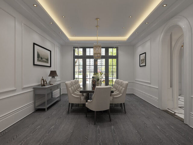 classic dining room with coffered wall decor and backlit ceiling - custom home experts