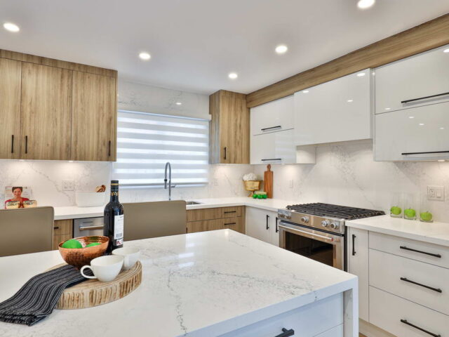marble splash wall and counter top in custom kitchen