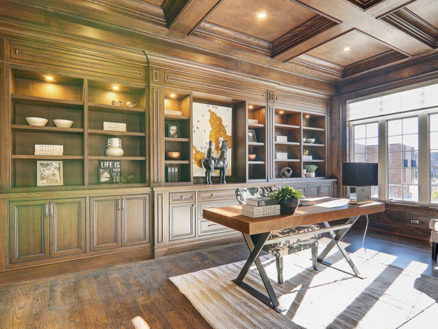 custom home office with build in cabinets - custom homes