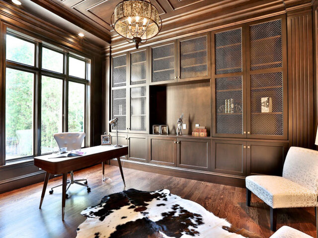 custom home office with wooden cabinets - toronto custom home builder