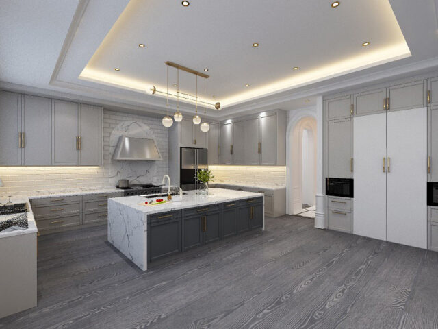modern kitchen with brick splash wall and backlit kitchen cabinets - custom homes by torino construction