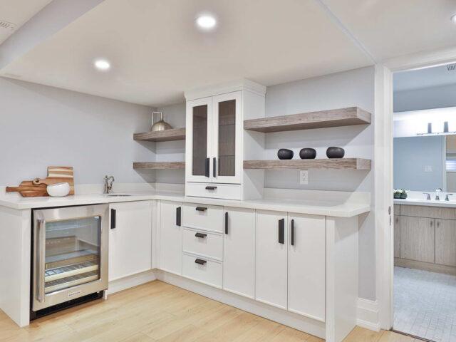 small kitchen with build in mini fridge