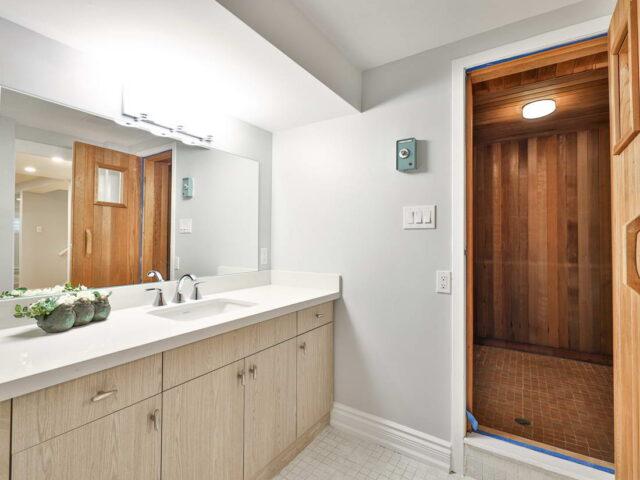 basement bathroom with sauna - custom home builders toronto