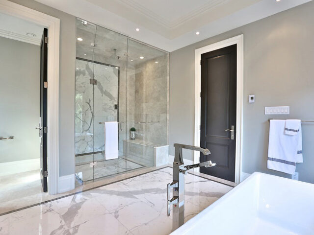 luxury master bathroom with freestanding bathtub and walk in shower - custom home experts
