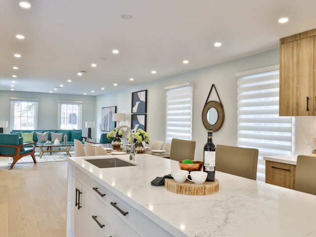marble counter top on kitchen island - custom home experts