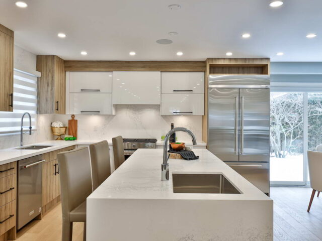 custom kitchen with backlit kitchen cabinets - custom home contractor