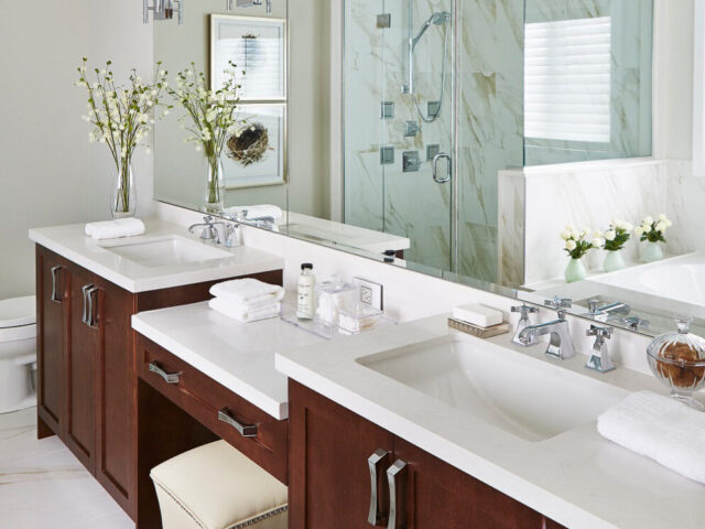 Amazing Bathroom with Double Vanity and Sink - Complete Home Renovation by Torino Construction