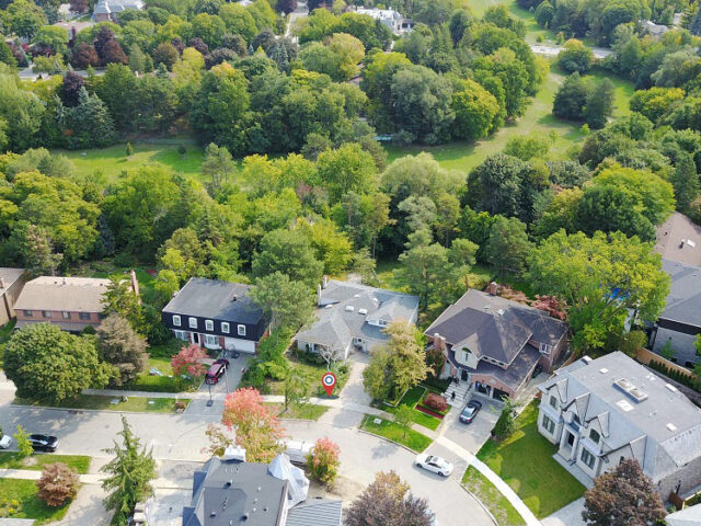 view from above over custom home project by torino construction