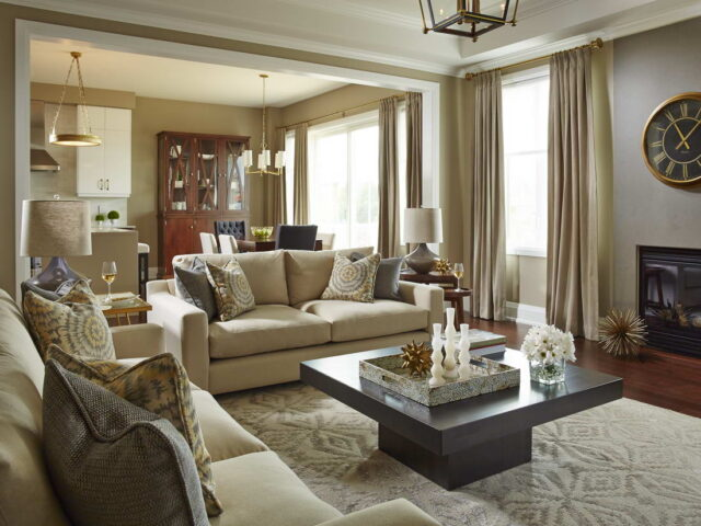 Modern Family Room with Build in Fireplace - Home Renovations