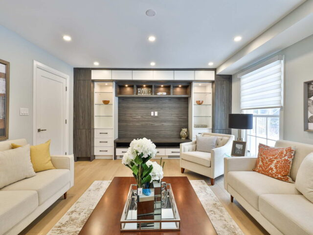 build in entertainment unit in custom living room by torino construction