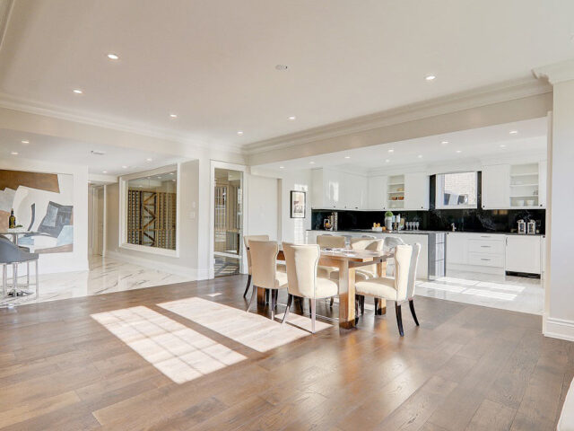open space dining room and custom kitchen by Torino construction