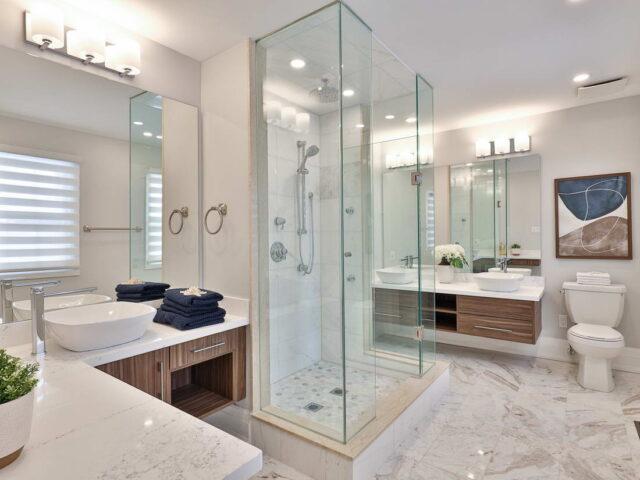custom bathroom with double vanity - custom homes