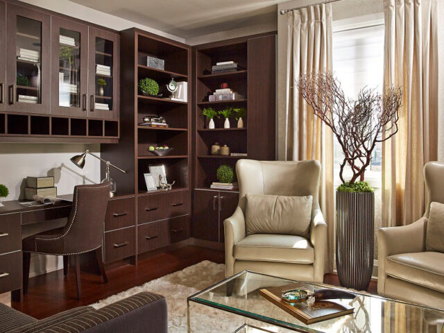 Custom Home Office with Amazing Cabinets and Siting Area - Toronto Home Renovation