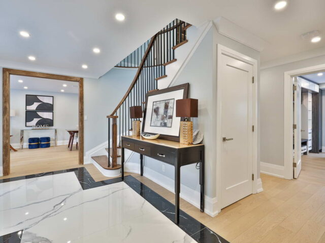 custom doors and crown moudling trim in custom home toronto