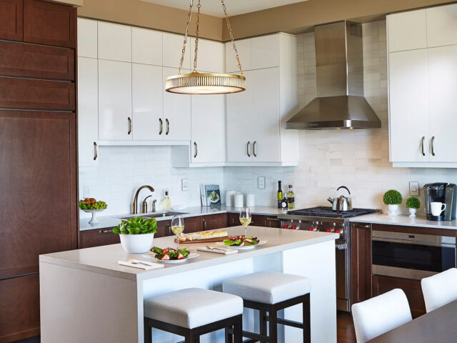 Luxury Kitchen Renovation with Two Tone White and Wooden Kitchen Cabinets - Home Renovation Company