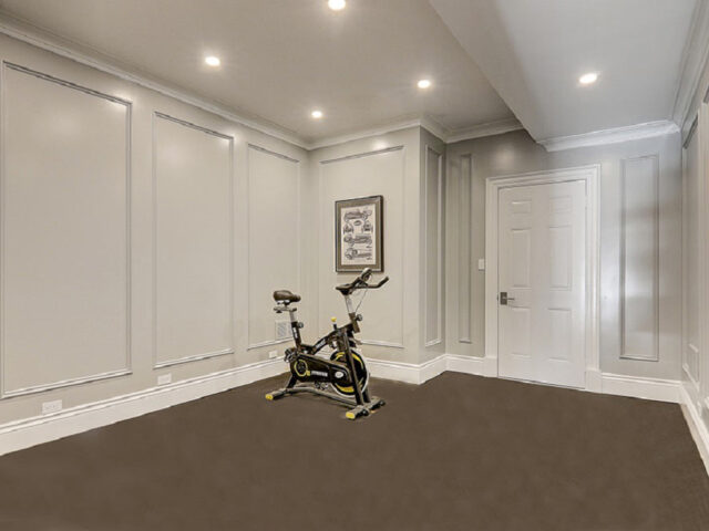 custom home basement with privet GYM and coffered wall decor- custom home contractor