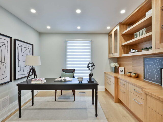 modern home office in custom home by torino construction
