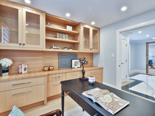 amazing cabinets in custom home office - custom home builders