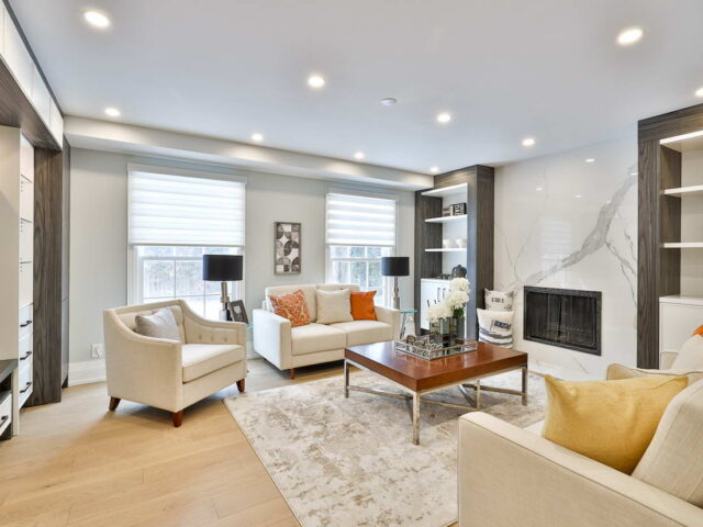 second floor family room with build in fire place - custom home experts