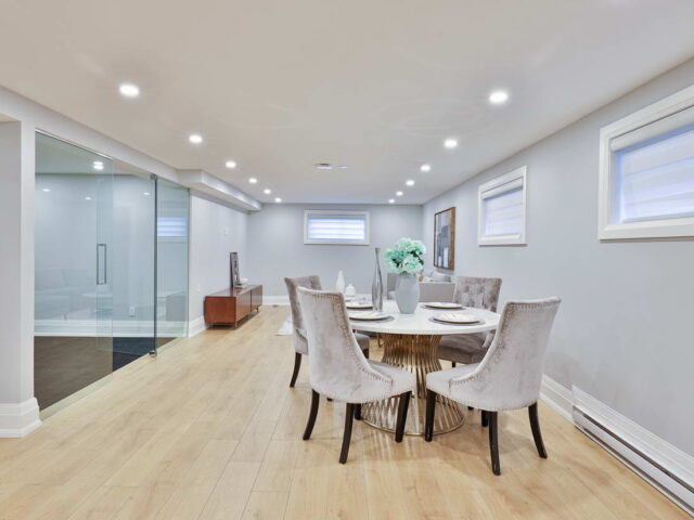 amazing basement with small dining room by torino construction