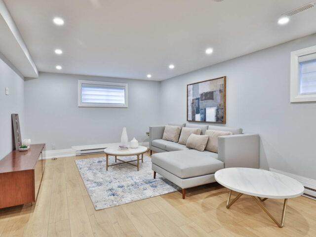 small living room in custom basement - custom home contractor
