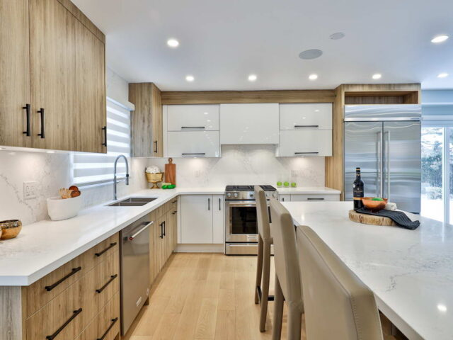 luxury kitchen with marble counter top - custom home experts