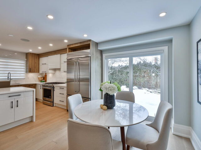 small dining area and amazing kitchen in custom home
