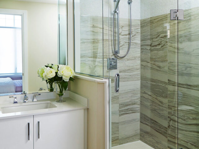Amazing Bathroom with Walk in Shower and Small Vanity - Home Renovation Project